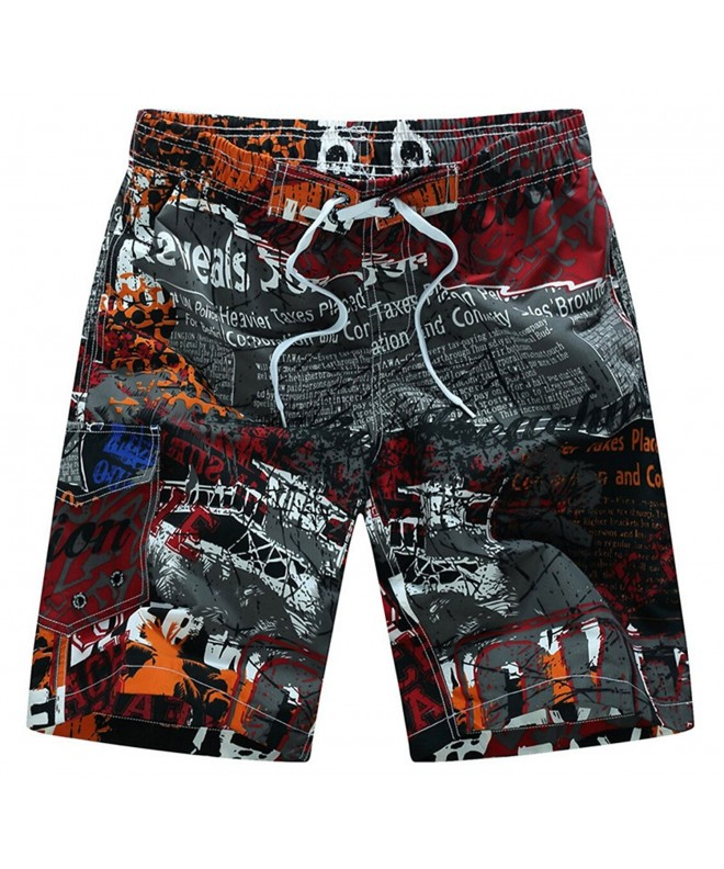 Printed Elastic Waist Beach Trunks