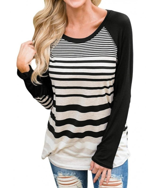Womens Casual Striped Sleeve T Shirts