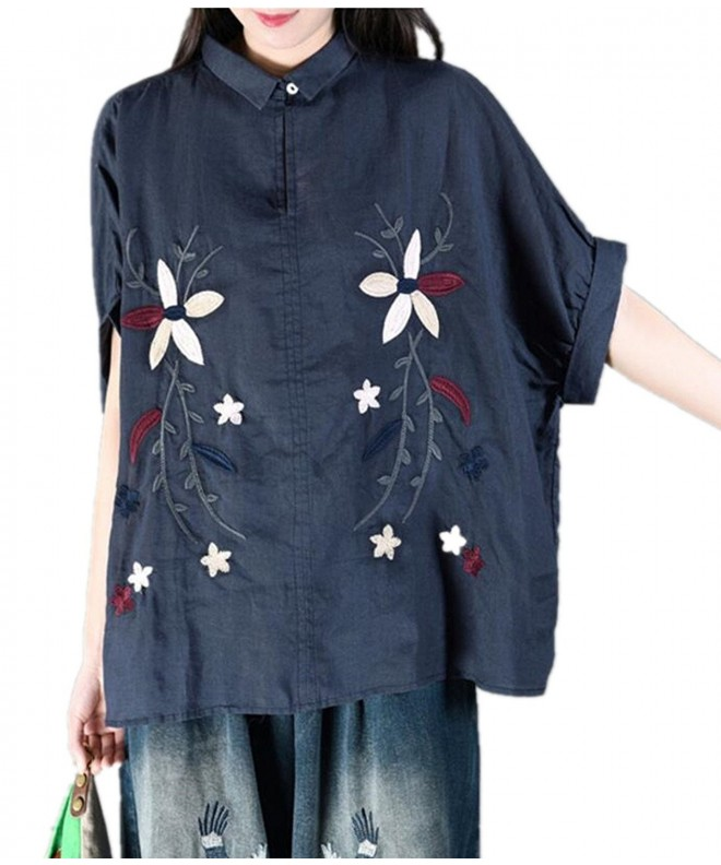 YESNO Casual Embroidered Blouse Button Down