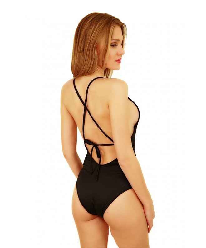 Women Swimsuit Piece Lace Back