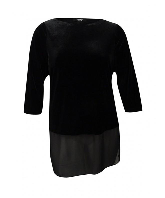 Alfani Womens Chiffon Velvet Pullover