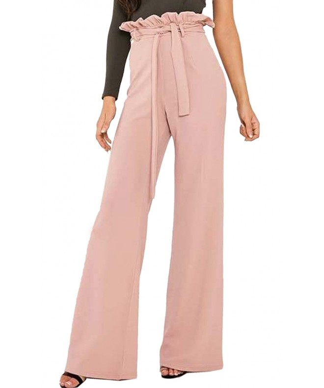 Angashion Womens Straight Waisted Palazzo