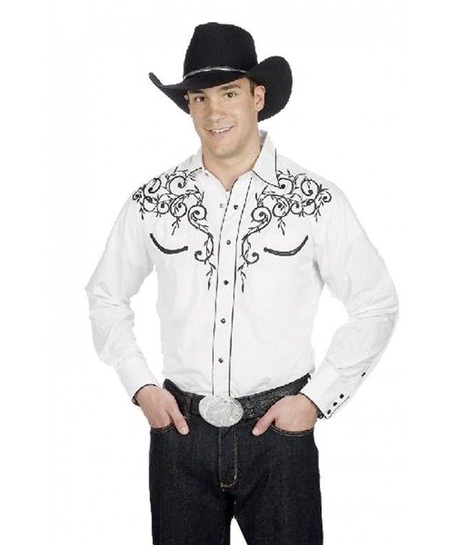 Cotton Blend Embroidery Western Shirt White Small