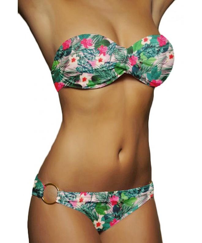 QingLemon Bandeau Bikini Swimwear Swimsuit