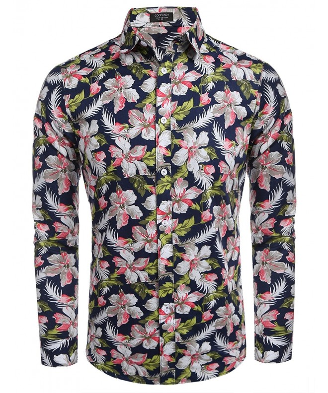 COOFANDY Floral Sleeve Casual Button