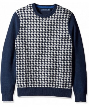 Nautica Mens Houndstooth Sweater Navy