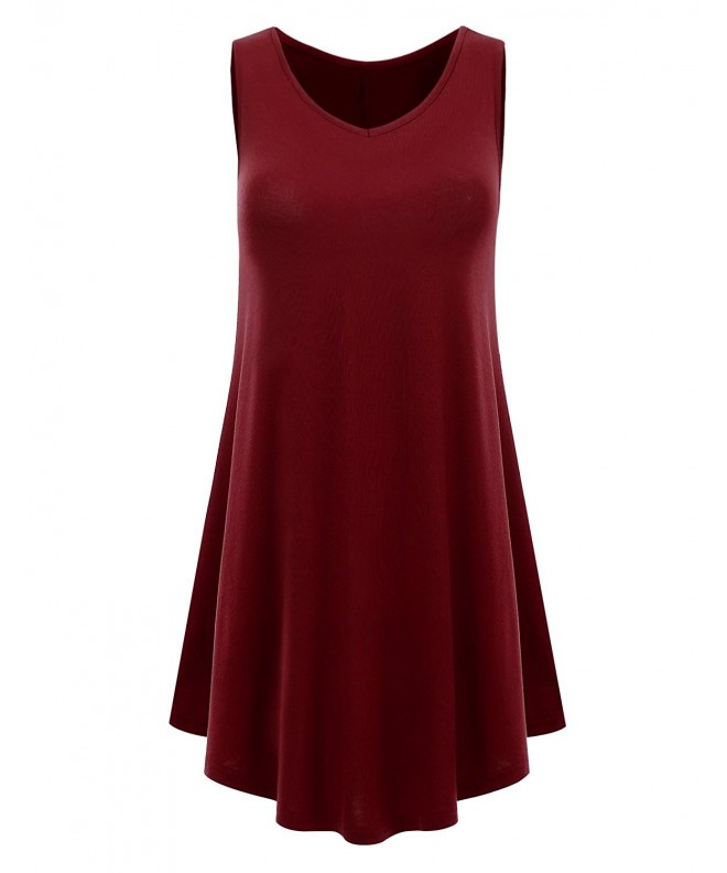 Womens Sleeveless V neck Burgundy XXX Large