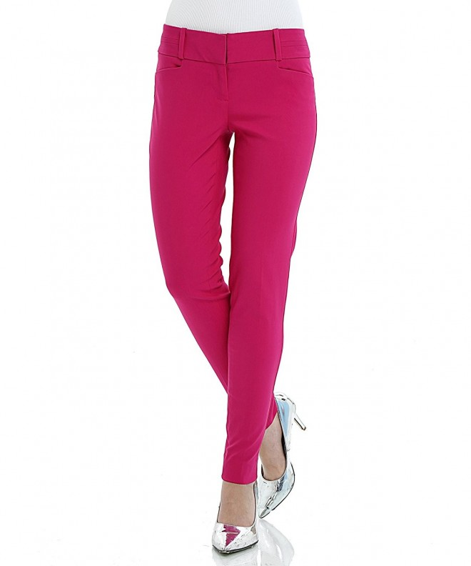 Womens Stretch Skinny Office Fuchsia
