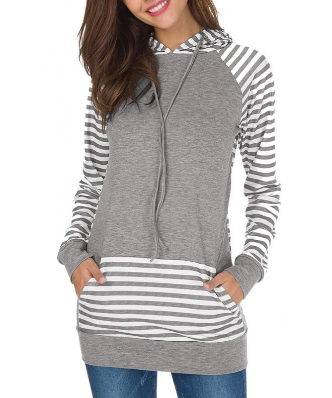 ECOWISH Stitching Pullover Drawstring Sweatshirts