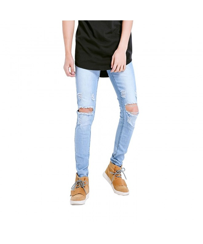Geurzc Ripped Biker Jeans Light