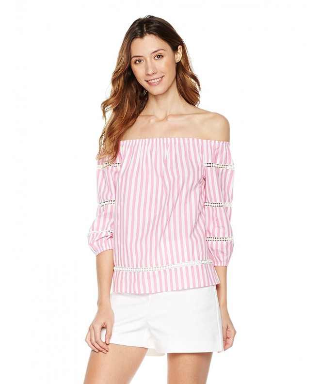 Plumberry Womens Off Shoulder Sleeve Striped