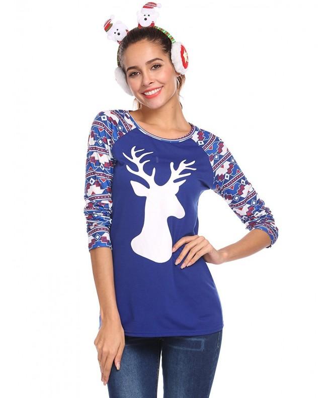 Women Christmas Reindeer Sleeve Pullover