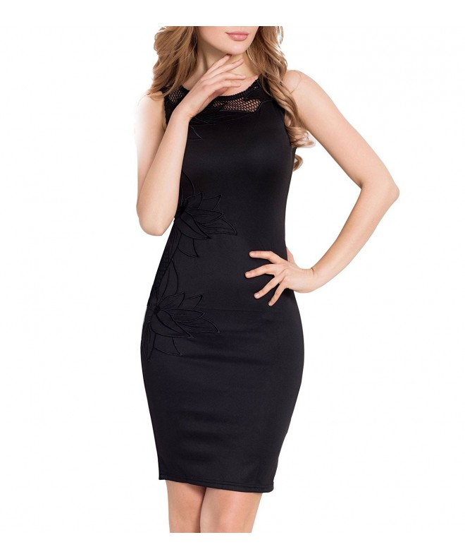 ohyeah Womens Sleeveless Embroidered Bodycon