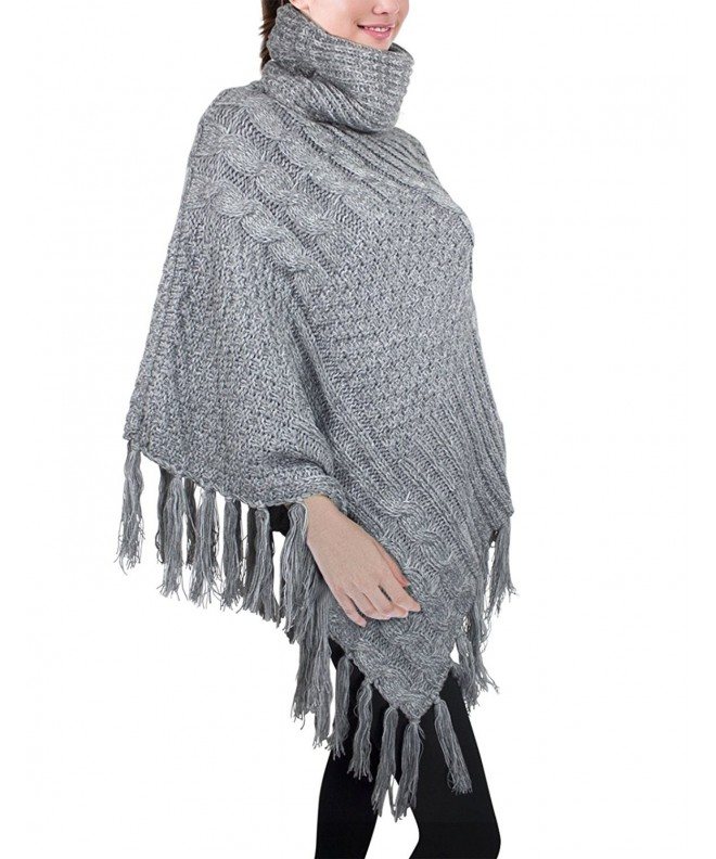 Dahlia Womens Knitted Poncho Multi Pattern