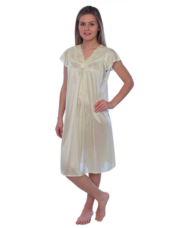 Womens Tricot Sleeve Nightgown Yellow