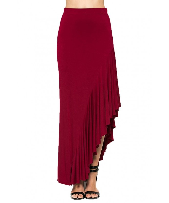Annabelle Womens Asymmetrical Skirts Burgundy