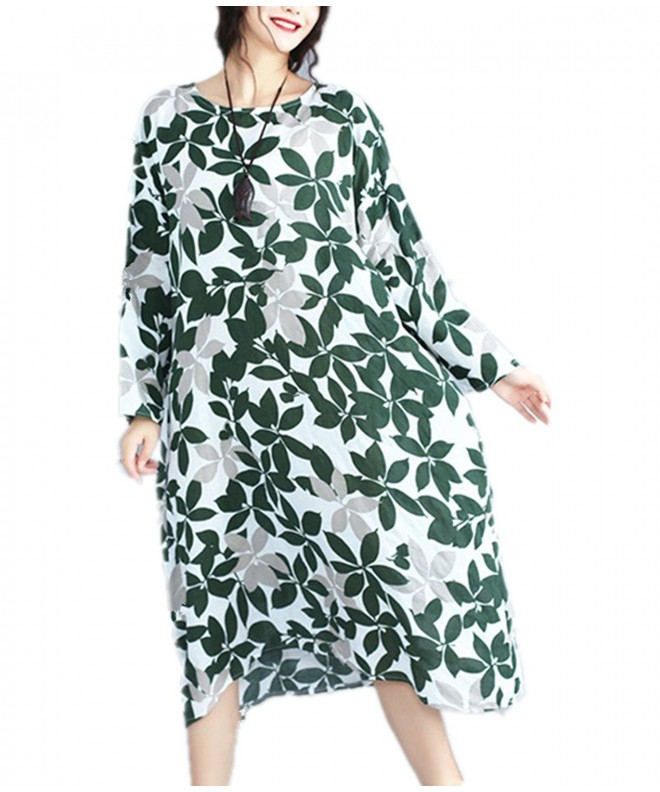 Casual Printed Cotton Bat Wing Sleeve