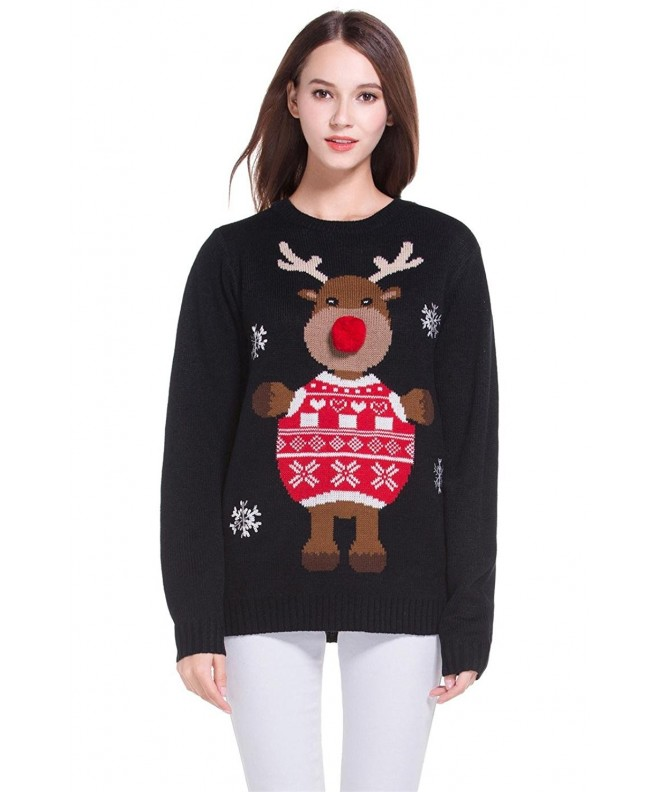 Christmas Reindeer Snowflakes Knitted Pullover