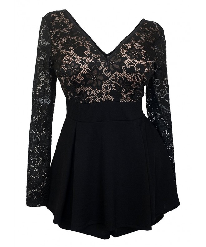 eVogues Overlay Romper Dress Black