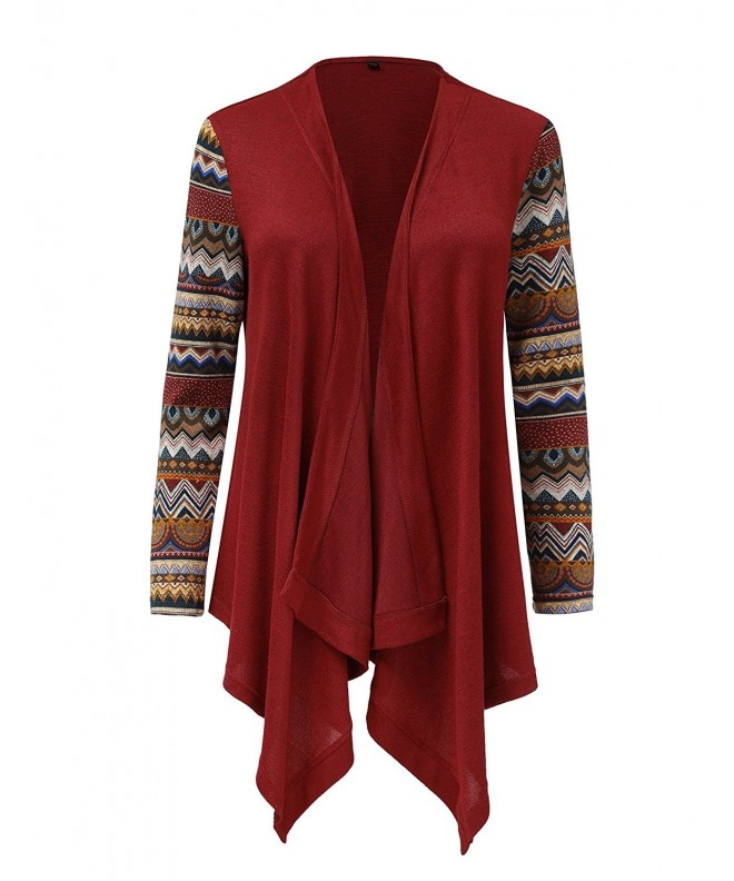 GRAPENT Sleeves Asymmetrical Cardigan Burgundy