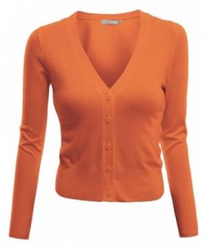Doublju Length Knit Cardigan ORANGE