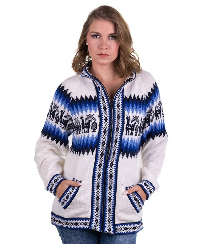 Gamboa White Alpaca Sweater Zipper