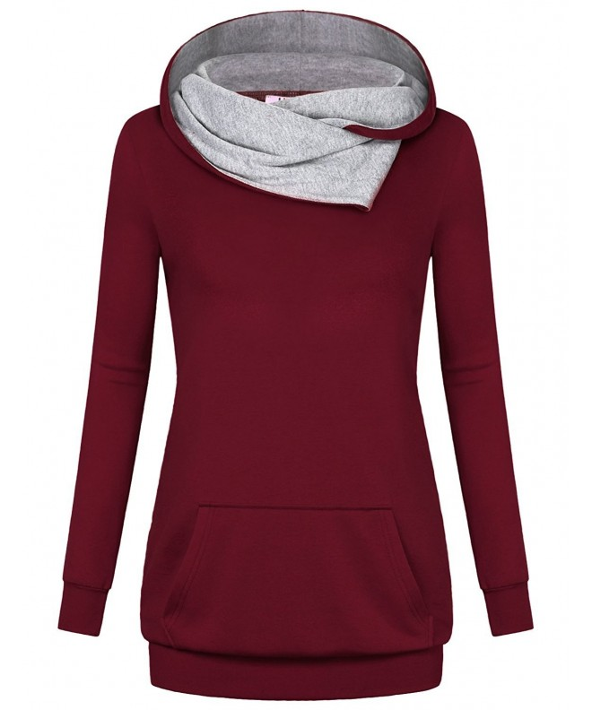 Miusey Sweatshirt Slimming Burgundy Flattering