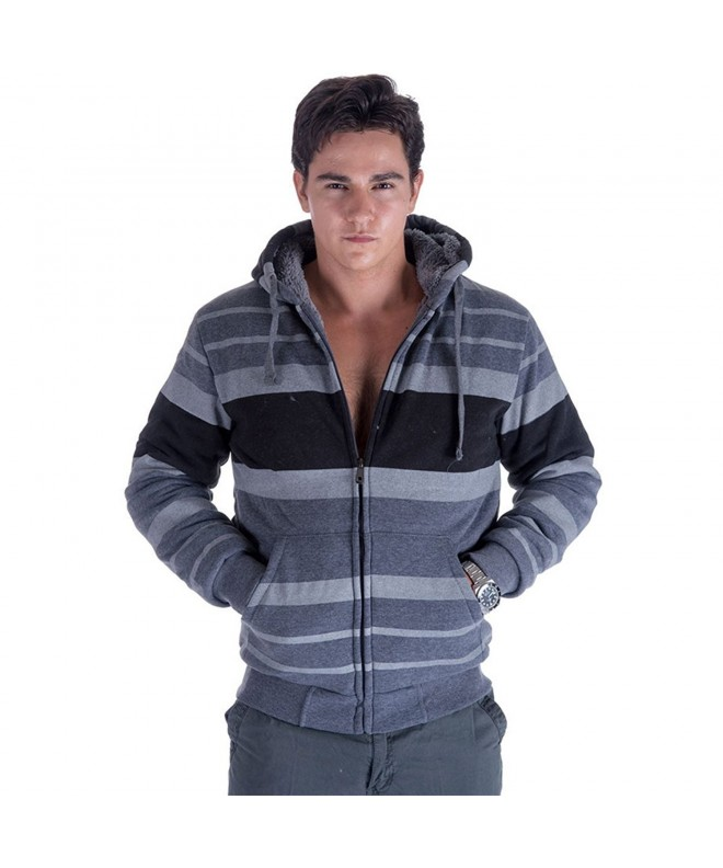 Leehanton Stripe Sherpa Lined Fleece Sweatshirt