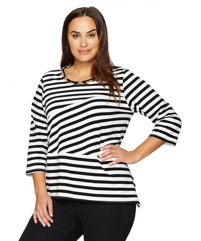 Alfred Dunner Womens Spliced Stripe