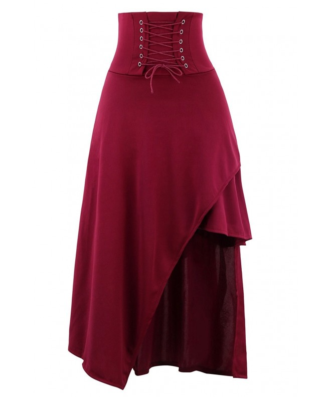 Killreal Victorian Steampunk Asymmetrical Burgandy