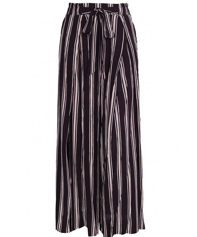 BerryGo BECL0709914 Womens Boho High Waist Split Stripe Wide Leg Pants L