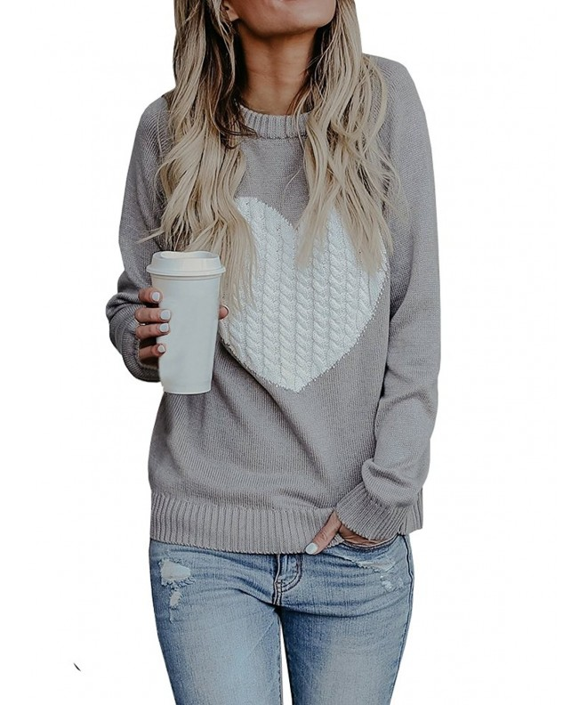 a473b718ec2 Womens Casual Pullover Sweater Long Sleeve Crew Neck Heart Printed ...