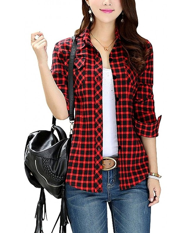 FShop365 Sleeve Button up Flannel Boyfriend