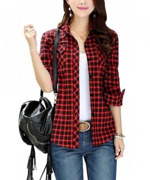 FShop365 Sleeve Button up Flannel Boyfriend