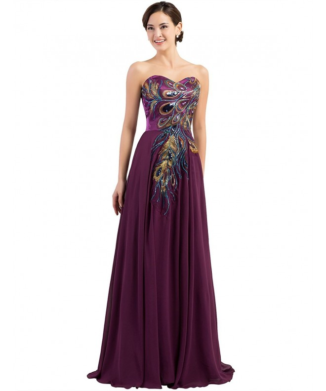 Evening Gowns Embroidery Design Strapless