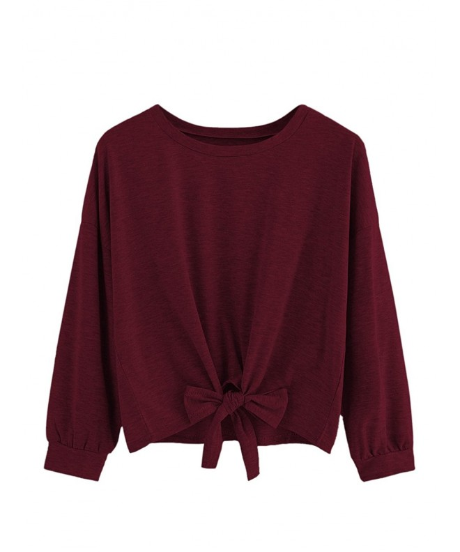 SweatyRocks Womens Sleeve T shirt Burgundy