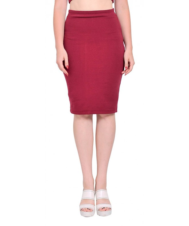 Marycrafts Womens Stretchy Bodycon Burgundy