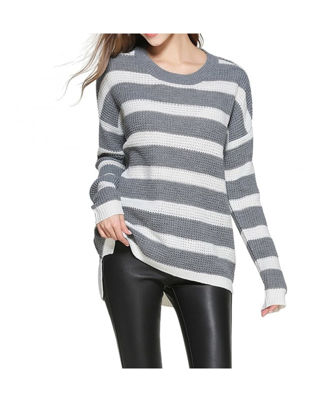 Tulucky Pullover Striped Sweater graywhite