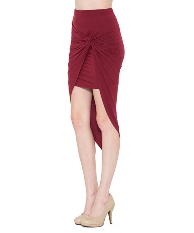 Fashion Secrets Shirred Asymmetrical Burgundy