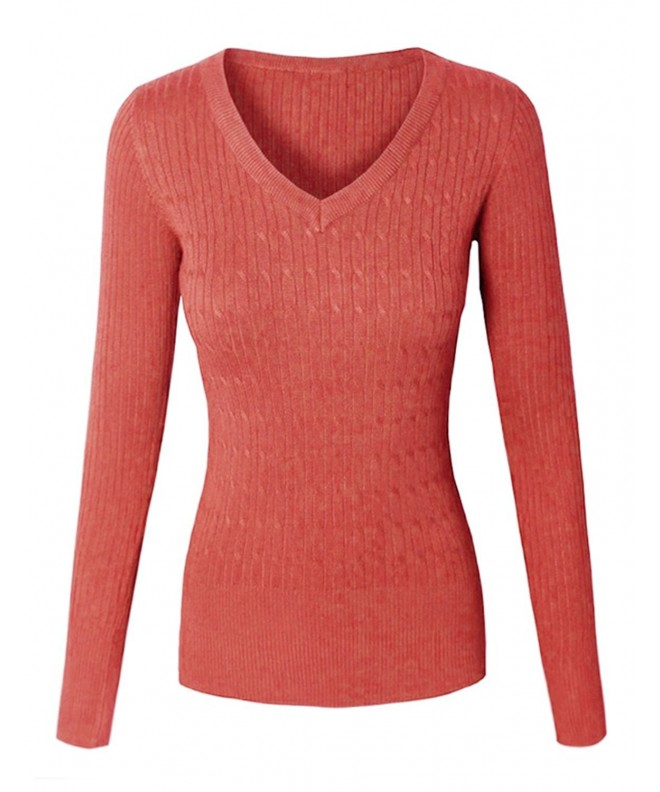makeitmint Twisted Pullover Sweater YISW0026_26CORAL