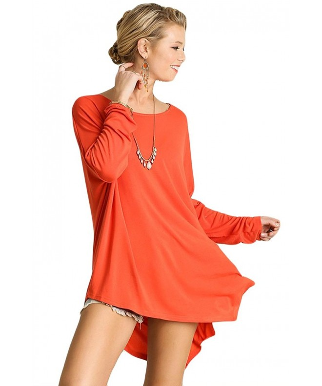 Umgee Womens Asymmetrical Sleeve Orange