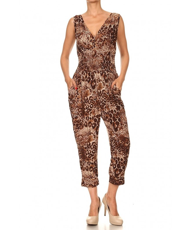 Hots Wings Sleeveless Leopard Printed Jumpsuits