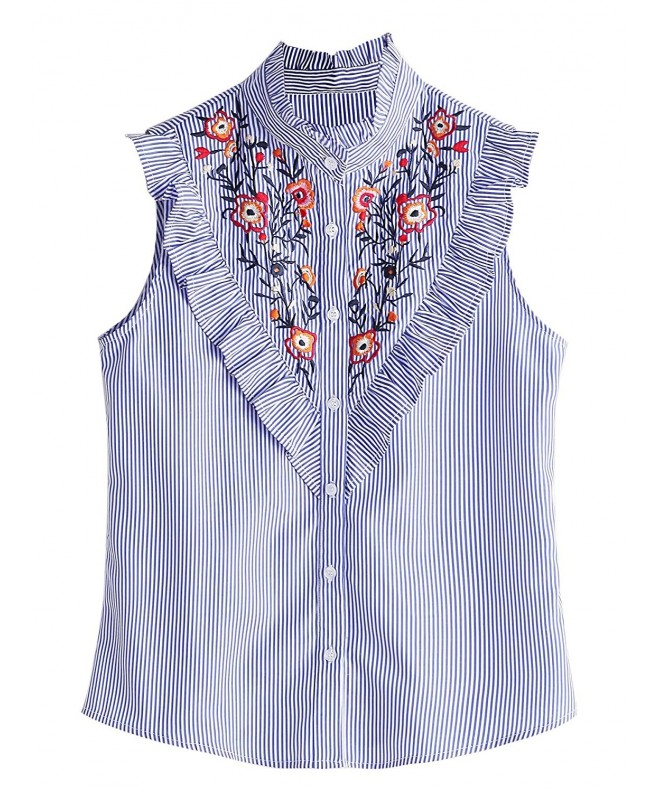 Floerns Womens Vertical Striped Embroidery