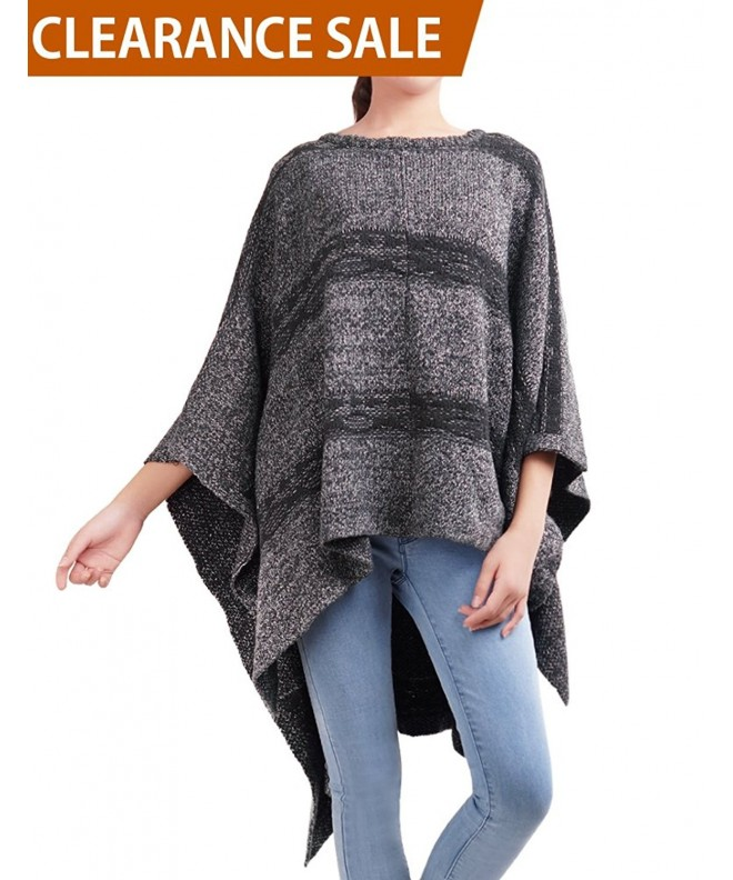 DELUXSEY Striped Knit Ponchos Women