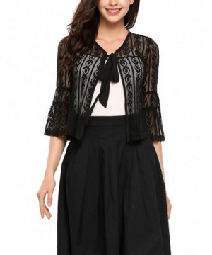 Thinlce Womens Crochet Cropped Cardigan