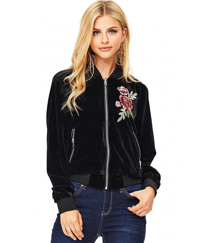 Ambiance Womens Velvet Bomber Jacket
