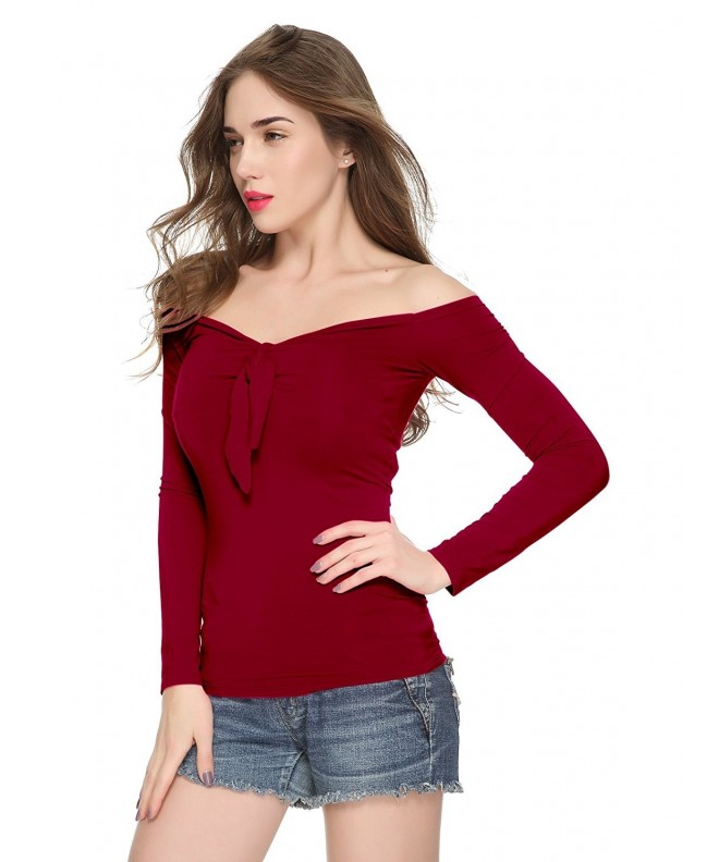 Maggie Tang Womens Shoulder Burgundy