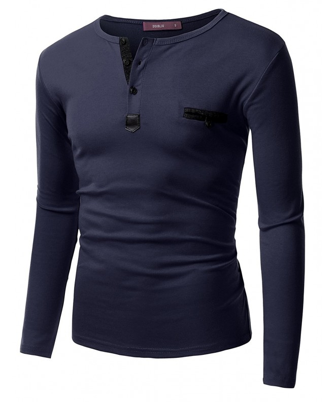 Doublju Leather T shirts Cmttl049_navy X Large