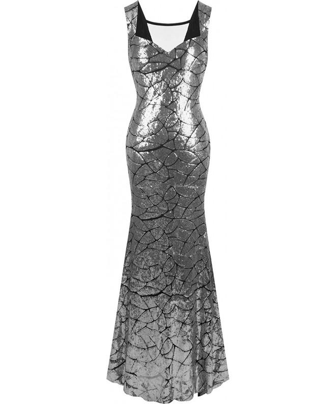 Angel fashions Womens Neckline Sequins Mermaid
