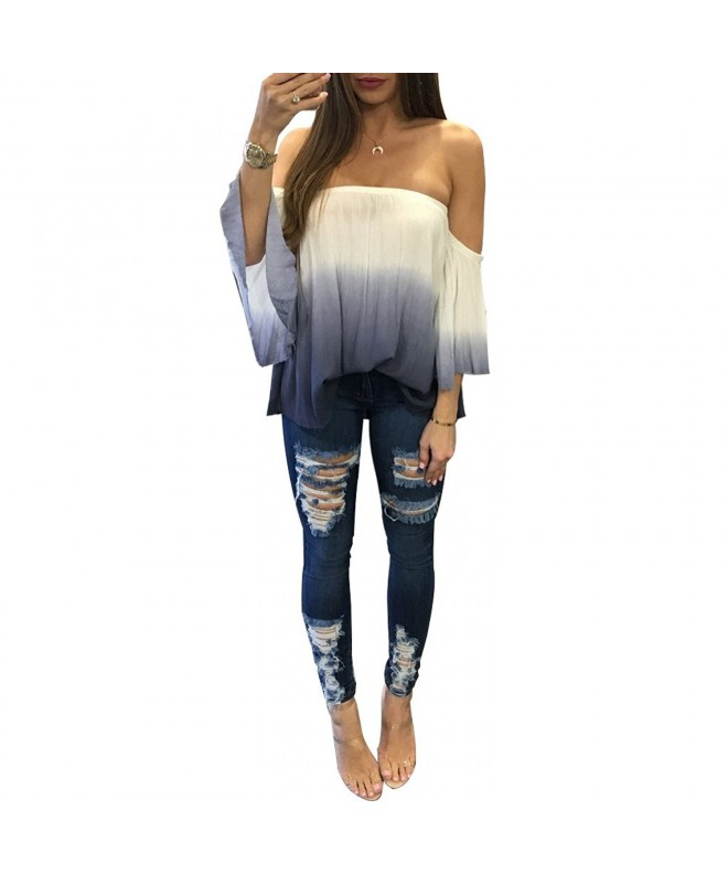 Xuan2Xuan3 Shoulder Sleeve Casual Blouse